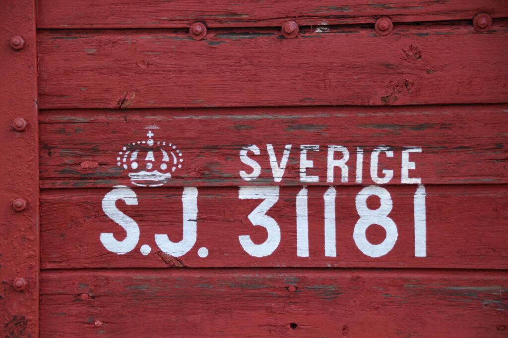 Detail van een wagonnummer bij de mijnen van Falun.