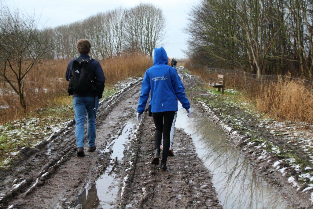 In de winter en bij nat weer heb je echt laarzen of goede wandelschoenen nodig bij Boswachterspad 't Lange Pad.