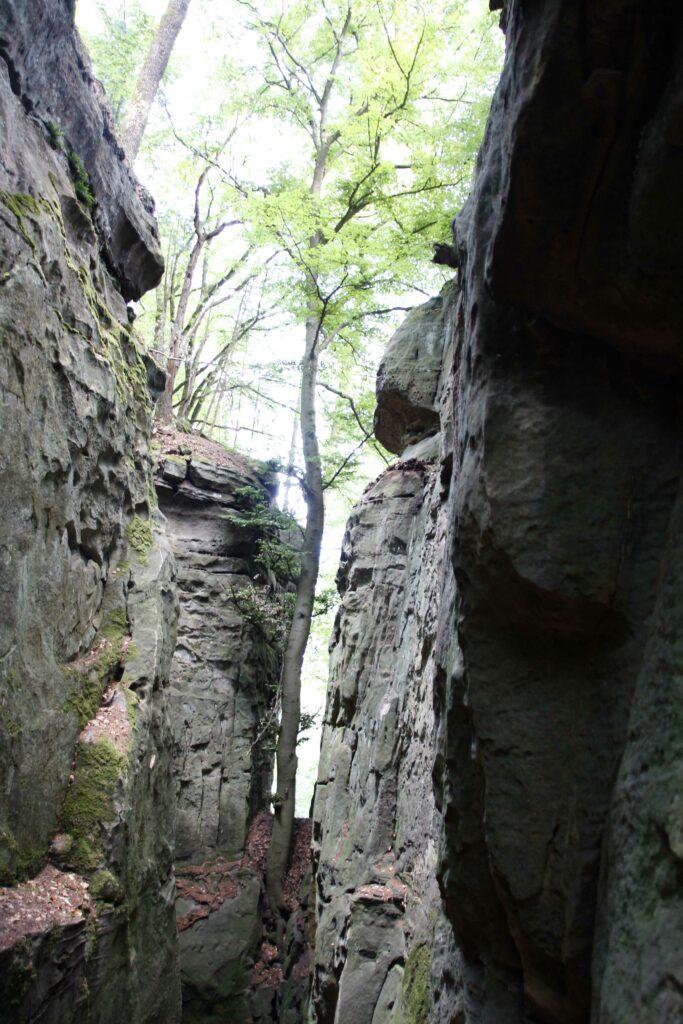 De rotsformaties zijn grillig. De Teufelsschlucht is op sommige plekken maar 1 meter breed.