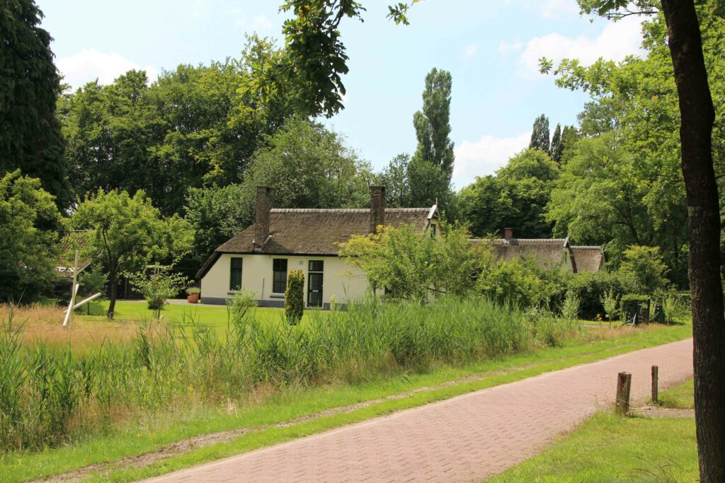 Als je weet waar je op moet letten, zie je in Frederiksoord de oorspronkelijke boerderijtjes nog met hun lapje grond. De rechte wegen waar deze boerderijen aan staan.