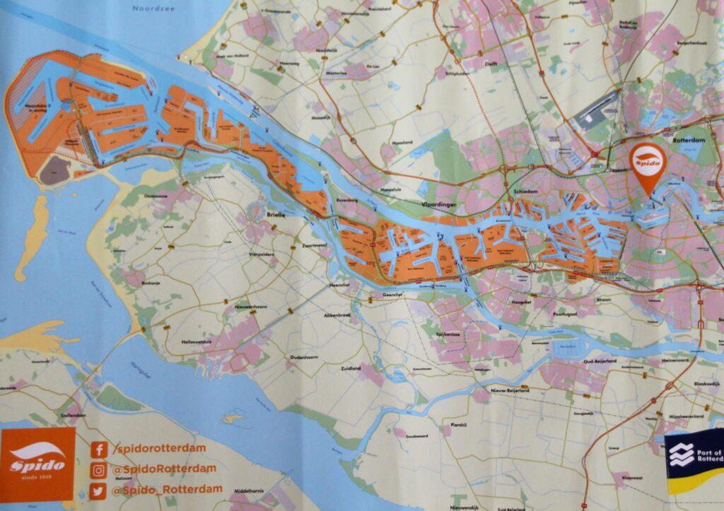 Kaart van het havengebied Rotterdam