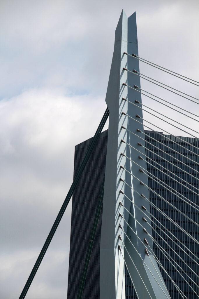 Close-up tuigage Erasmusbrug Rotterdam